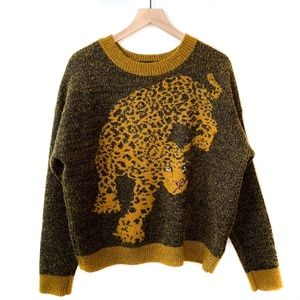 *Rare* Urban Outfitters Leopard Graphic Brown Gold Pullover Crewneck Sweater M